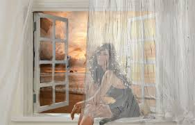 mujer cortina